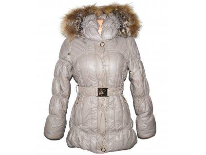 Dámský prošívaný béžový zimní kabát s páskem a kapucí, pravý kožíšek Nature Classic M