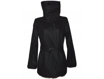 Vlněný (62%) dámský černý kabát s páskem Sara Kelly XL