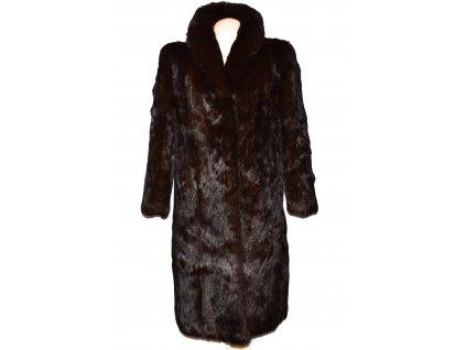 PRAVÝ dámský tmavě hnědý dlouhý kožich XL