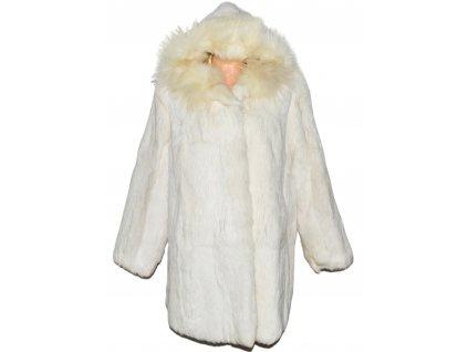 PRAVÝ dámský smetanový kožich s kapucí XXXL