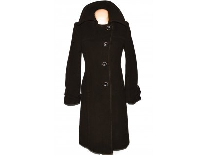 Vlněný (80%) dámský hnědý dlouhý kabát S.Oliver 38