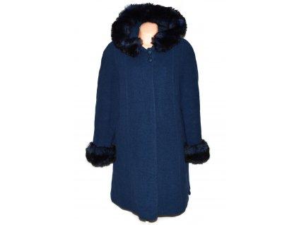 Vlněný dámský tmavě modrý kabát s kapucí Alberto Toscani XXL+