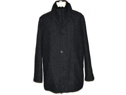 Vlněný (55%) pánský šedočerný zimní kabát na zip Prostějov 52