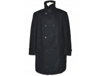 Vlněný (60%) pánský šedý dlouhý kabát YORN XL - 27