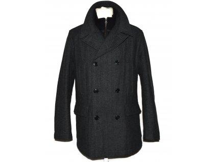 Vlněný (50%) pánský šedočerný zimní kabát F&F L