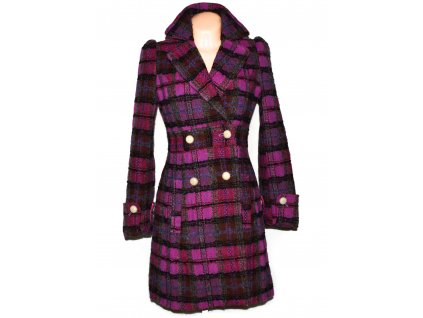 Vlněný dámský růžovo-fialový kabát NEXT M