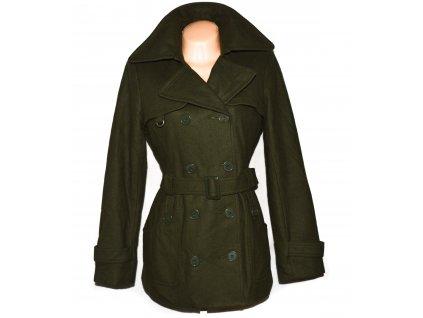 Vlněný (70%) dámský khaki zelený kabát s páskem VERO MODA L