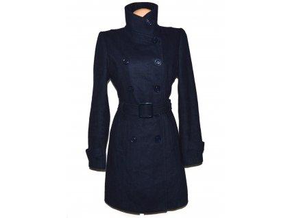 Vlněný (70%) dámský modrý kabát s páskem L