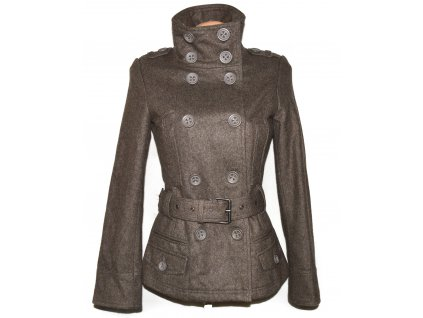 Vlněný (50%) dámský hnědý kabát s páskem CLOCKHOUSE S