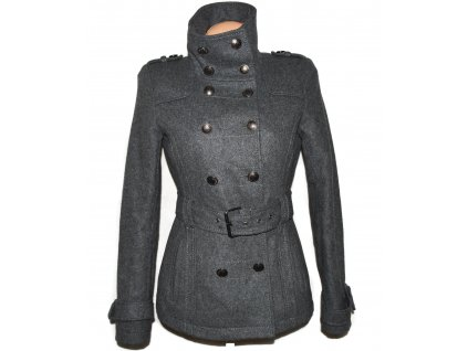 Vlněný dámský šedý kabát s páskem Orsay XS
