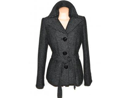 Vlněný (50%) dámský šedočerný kabát s páskem C&A 16/42