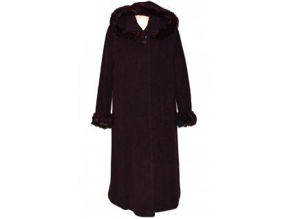Vlněný (80%) dámský fialový dlouhý kabát s kapucí Exclusive Collection 52 - XXXL