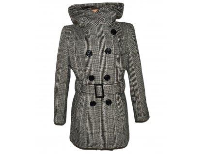 Vlněný dámský hnědočerný kabát s páskem a límcem PACO XL