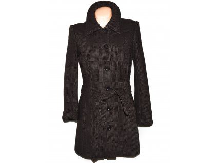 Vlněný (60%) dámský hnědý kabát s páskem Casa Blanca 38