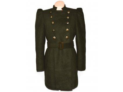 Dámský khaki zelený kabát s páskem GEORGE L