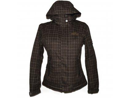 Lyžařská dámská hnědá kostkovaná bunda s kapucí Hannah L