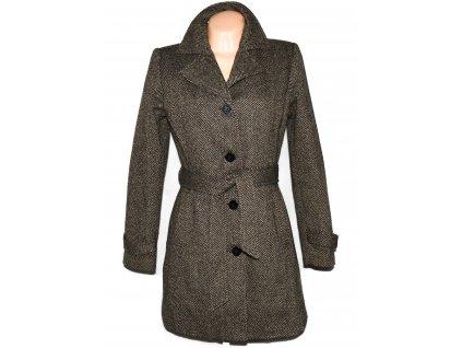 Vlněný dámský hnědý kabát s páskem Blind date 38