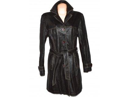 KOŽENÝ dámský hnědý měkký kabát s páskem KARA 46