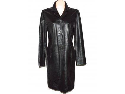 KOŽENÝ dámský černý dlouhý měkký kabát BENETTON L