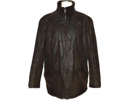 KOŽENÁ pánská hnědá zateplená bunda na zip C&A - Canda 56
