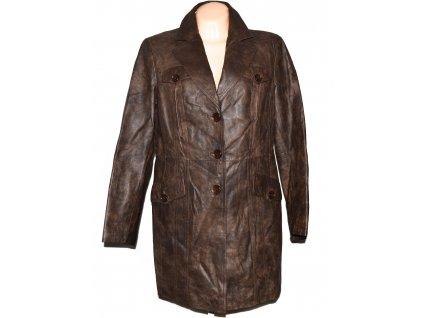 KOŽENÝ dámský hnědý měkký kabát C&A XL