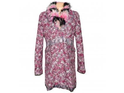 Dámský růžový kabát s kožíškem Kiwi XXL