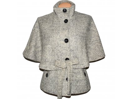 Vlněný (45%) dámský šedý kabátek s páskem CLOCKHOUSE M-L