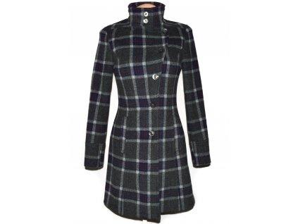 Vlněný (70%) dámský šedý kostkovaný kabát SISLEY (vlna, kašmír) XS