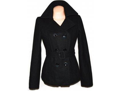 Vlněný (56%) dámský černý kabát s páskem ORSAY 38 2