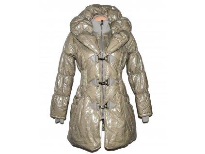 Dámský prošívaný béžový kabát na zip a karabinky Miss Sexy M