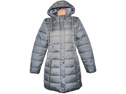 Dámský šedý zimní prošívaný kabát s kapucí CROPP XL