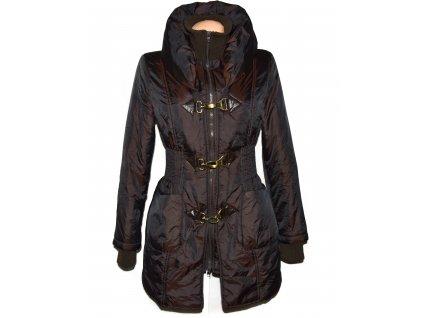 Dámský hnědý prošívaný kabát na zip a karabinky Linea Tesini S/M