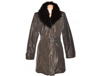 Dámský hnědý zateplený kabát s páskem a kožíškem Steilmann 42