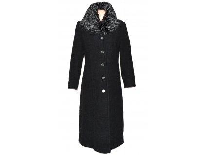 Vlněný dámský dlouhý šedočerný kabát s kožíškem L