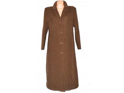 Vlněný (60%) dámský dlouhý hnědý kabát (vlna, kašmír) FABRIZIO 46