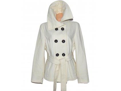 Vlněný (80%) dámský smetanový kabát s páskem Reserved 44