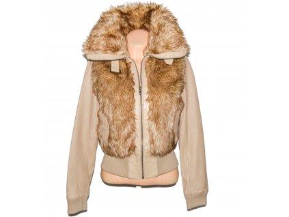 KOŽENÁ dámská béžová bunda s kožíškem H&M UK12