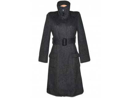 Dámský šedý dlouhý kabát s páskem PAPAYA S