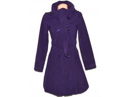 Vlněný (60%) dámský fialový kabát s páskem XS