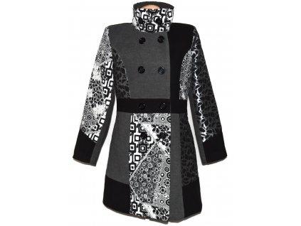 Vlněný dámský šedočerný žakárový kabát XL