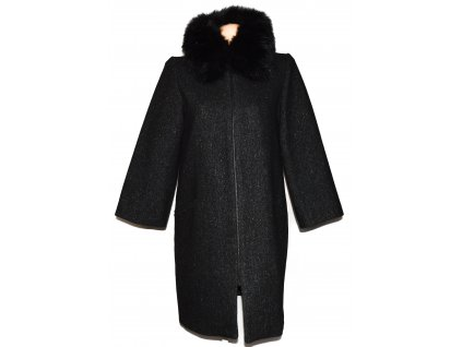 Vlněný (68%) dámský šedočerný kabát s kožíškem ZARA M 4