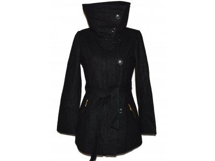 Vlněný (57%) dámský černý kabát s páskem PIMKIE 40 3
