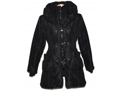 Dámský černý prošívaný kabát s kapucí L