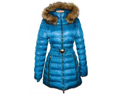 Dámský modrý tyrkysový prošívaný zimní kabát s páskem a kapucí Jump Fish XL