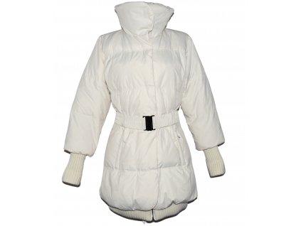 Dámský prošívaný smetanový zimní kabát s páskem AMISU 42