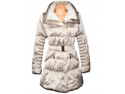 Dámský béžový prošívaný kabát s páskem, kožíškem uvnitř Dromedar L/XL