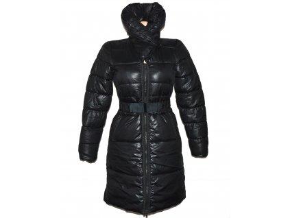 Dámský černý prošívaný kabát s páskem H&M 34