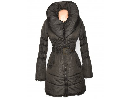 Dámský hnědý prošívaný kabát s páskem a límcem M