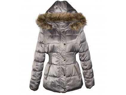 Dámský hnědý prošívaný kabát s kapucí ORSAY 38