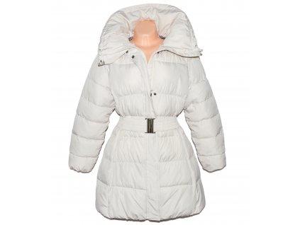 Dámský béžový zimní prošívaný kabát s páskem Elan XXL